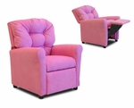Kids Four Button Hot Pink Micro Suede Recliner [DZD10147-FS-DD]