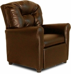 Kids 4 Button Tufted Back Faux Leather Recliner - Pecan Brown [DZD11527-FS-DD]