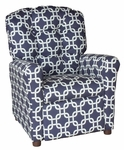 Kids Recliner with Button Tufted Back - Gotcha Navy [400-GOTCHA-NAVY-FS-BZ]
