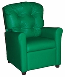 Kids Recliner with Button Tufted Back - Green Vinyl [400-VINYL-GREEN-FS-BZ]