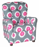 Kids Recliner with Button Tufted Back - Ikat Domino Flamingo [400-IKAT-DOMINO-FLAMINGO-FS-BZ]