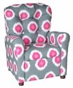 Kids Recliner with Button Tufted Back - Ikat Domino Flamingo