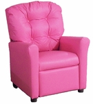 Kids Recliner with Button Tufted Back - Pink Vinyl [400-VINYL-PINK-FS-BZ]