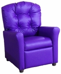 Kids Recliner with Button Tufted Back - Purple Vinyl [400-VINYL-PURPLE-FS-BZ]