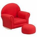 Kids Red Fabric Rocker Chair and Footrest