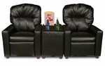 Kids 3 Piece Faux Leather Reclining Theater Seat Set - Black [DZD10772-FS-DD]