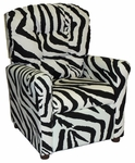 Kids Recliner with Button Tufted Back - Zebra [400-ZEBRA-FS-BZ]