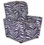 Kids Micro-Suede Theater Recliner with Cup Holder - Zebra [DZD12056-FS-DD]