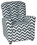 Kids Recliner with Button Tufted Back - Zig Zag Black [400-ZIG-ZAG-BLACK-FS-BZ]