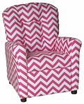 Kids Recliner with Button Tufted Back - Zig Zag Pink [400-ZIG-ZAG-PINK-FS-BZ]
