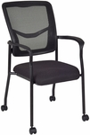 Kiera 37''H Mesh Back Stackable Side Chair with Casters - Black [5175CBK-REG]