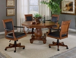 Kingston 5 Piece Ornate Game Set with Multi Function Wood Table and 4 Caster Arm Chairs - Light Cherry [6004GTBC-FS-HILL]