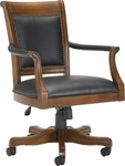 Kingston Height Adjustable Wood Office Chair With Black Leather Seat - Light Cherry [6004-801-FS-HILL]