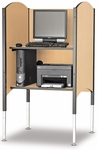 45.5''H to 57.5''H Adjustable Kiosk Carrel with Printer Shelf - Fusion Maple [02385H-SCI]