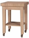 Classic 24''W X 34''H Kitchen Island with Storage Shelf - Natural [WC-2424-FS-WHT]