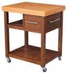 Classic 30''W X 36''H Kitchen Work Center with Multiple Storage and Castors - Cinnamon [WC58-3-FS-WHT]