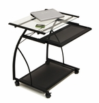 L Compact Mobile Cart with Clear Tempered Glass Work Surface - Black [50100-FS-SDI]