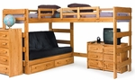 Rustic Style Solid Pine L Shaped Loft Bed with Futon and Storage - Honey [3662001-S-FS-CHEL]