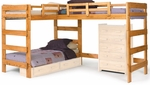Rustic Style Solid Pine L Shaped Loft Bed - Honey [3662008-FS-CHEL]