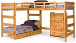 L Shaped Loft Bed with Underbed Storage - Honey [3662008-S-FS-CHEL]
