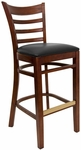 Ladder Back Barstool with Mahogany Finish and Black Vinyl Seat [8241B-M-BLACK-HND]