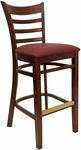 Ladder Back Barstool with Mahogany Finish and Gr 2 Burgundy Vinyl Seat [8241B-M-IND8569-HND]