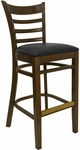 Ladder Back Barstool with Walnut Finish and Black Vinyl Seat [8241B-W-BLACK-HND]