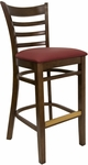 Ladder Back Barstool with Walnut Finish and Gr 2 Burgundy Vinyl Seat [8241B-W-IND8569-HND]
