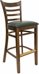 Ladder Back Barstool with Walnut Finish and Gr 2 Green Vinyl Seat [8241B-W-IND8571-HND]