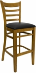 Ladder Back Barstool with Wild Cherry Finish and Black Vinyl Seat [8241B-WC-BLACK-HND]