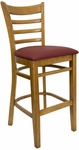 Ladder Back Barstool with Wild Cherry Finish and Gr 2 Burgundy Vinyl Seat [8241B-WC-IND8569-HND]