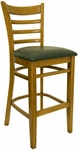 Ladder Back Barstool with Wild Cherry Finish and Gr 2 Green Vinyl Seat [8241B-WC-IND8571-HND]