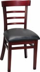 Ladder Back Chair with Extended Edge - Black Vinyl Seat [8676-HND]