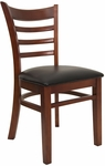 Ladder Back Chair with Mahogany Finish and Black Vinyl Seat [8241-M-BLACK-HND]