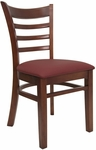 Ladder Back Chair with Mahogany Finish and Gr 2 Burgundy Vinyl Seat [8241-M-IND8569-HND]