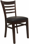 Ladder Back Chair with Walnut Finish and Black Vinyl Seat [8241-W-BLACK-HND]