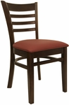 Ladder Back Chair with Walnut Finish and Gr 2 Burgundy Vinyl Seat [8241-W-IND8569-HND]