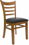 Ladder Back Chair with Wild Cherry Finish and Black Vinyl Seat [8241-WC-BLACK-HND]