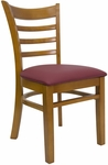 Ladder Back Chair with Wild Cherry Finish and Gr 2 Burgundy Vinyl Seat [8241-WC-IND8569-HND]