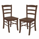 Ladder Back Chairs in Antique Walnut-Set of 2 [94232-FS-WWT]