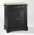 LaFayette Natural Wood Top Portable Kitchen Island [KF30021BBK-FS-CRO]