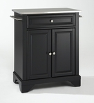 LaFayette Stainless Steel Top Portable Kitchen Island in Black Finish [KF30022BBK-FS-CRO]