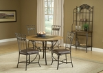 Lakeview 5 Piece Dining Set with Round Table and 4 Slate Chairs - Brown and Medium Oak [4264DTBRDCS-FS-HILL]