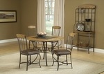 Lakeview 5 Piece Dining Set with Round Table and 4 Wood Chairs - Brown and Medium Oak [4264DTBRDCW-FS-HILL]