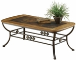 Lakeview Metal and Wood 48''W x 18''H Cocktail Table with Dynamic Slate Motif - Oak and Copper Brown [4264OTC-FS-HILL]