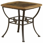 Lakeview Metal and Wood 24''W x 24''H End Table with Dynamic Slate Motif - Oak and Copper Brown [4264-884-FS-HILL]
