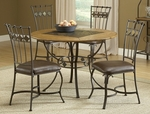Lakeview 45'' Diameter Round Wood and Metal Dining Height Dining Table - Brown and Medium Oak [4264DTBRD-FS-HILL]