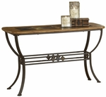 Lakeview Metal and Wood 48''W x 30''H Sofa Table with Dynamic Slate Motif - Oak and Copper Brown [4264OTS-FS-HILL]