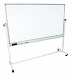 Doubled Sided 72''W x 68''H Aluminum Frame Magnetic Mobile White Board with Marker Tray [MB7240WW-FS-LUX]
