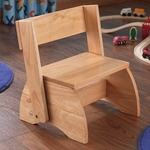 Kids Size Large Sturdy Hardwood Flip Step to Sit Stool - Natural [15821-FS-KK]